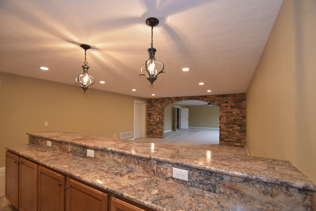 Bar area in basement of Glendale model