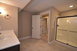 large bathroom in basement of Glendale model