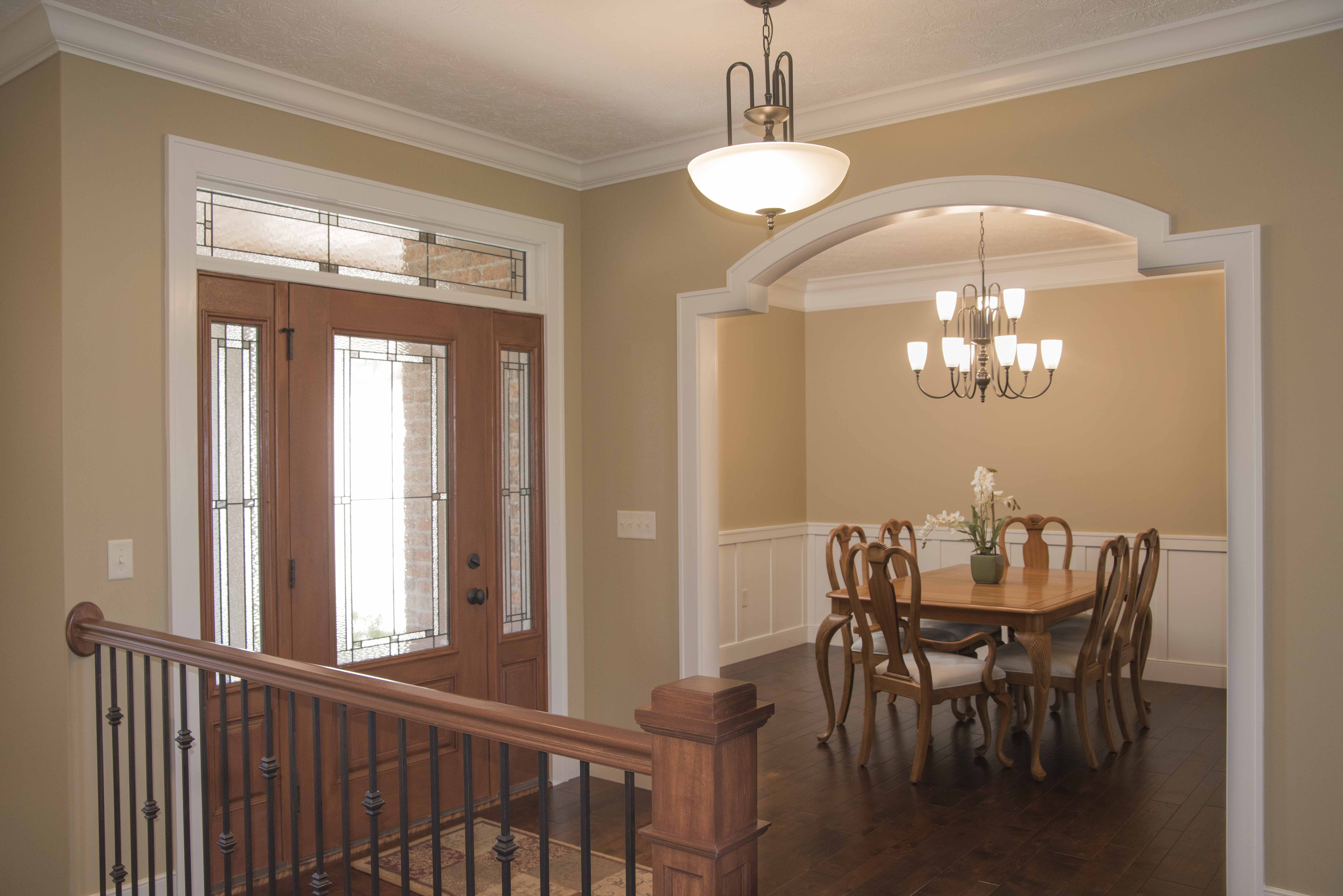 Foyer and dining room of Barrington model