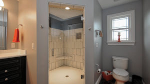 Corner shower with ceramic tile