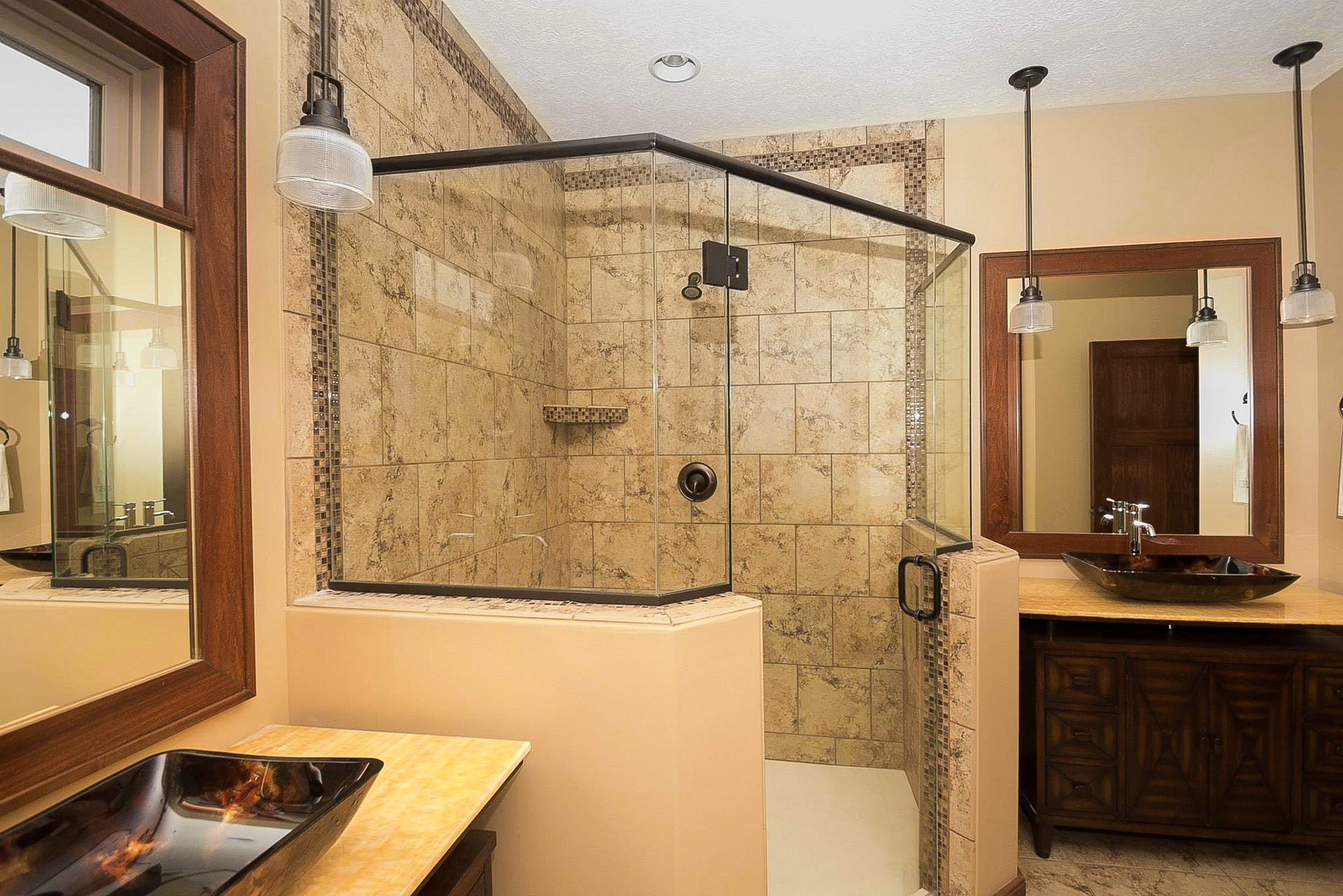 Corner shower with half walls and ceramic tile