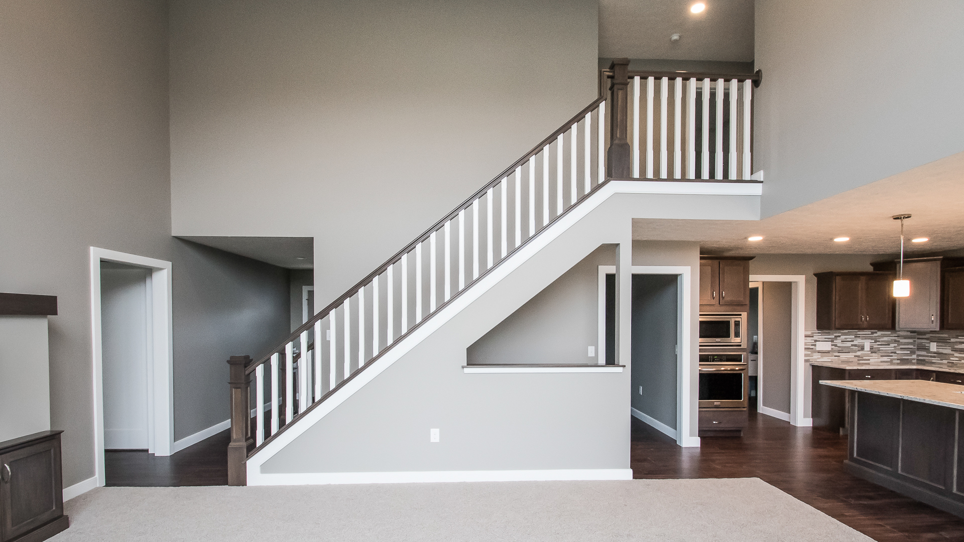 Stairs   Stained Railings And Flat Panel Box Newel Posts, Painted  Skirtboards, Painted Square Chamfer Balusters