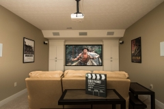 Theater room with flanking built in storage. The left side is a secret door that leads to more storage!