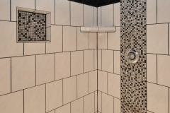 Ceramic tile shower with shelf and recessed box