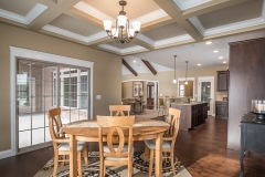 Dining / Breakfast nook of Excalibur model features coffered ceilings with Keats light fixtures