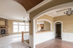 Standing in the foyer of the Glendale model, the formal dining room is just to the right.