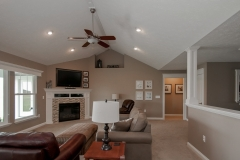 Great room in Talladega model (on basement) features corner fireplace and cathedral ceiling