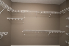 Wire shelving in master closet