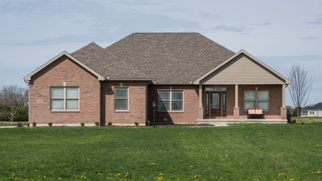 """Allison model with Glen-Gery Shelby brick, Clay dutchlap 4.5"""" vinyl siding built off of Washington Road in Troy"""