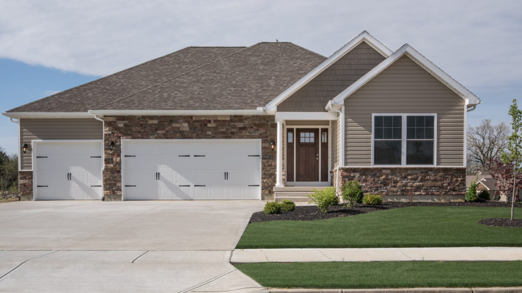 """Avondale model with Torino Weather Ledge stone, Clay Double 5"""" dutchlap siding and Espresso Double 7"""" cedar shingles built in Hunter's Run (Brookville)"""