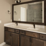 Camden Rustic Birch Stone cabinet, one-piece cultured marble Custom Cast White Out GRST 103 DMF-N, wave runner bowl, Moen Eva 6400 (single lever) & T2133, oil rubbed bronze faucet