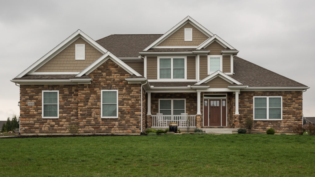 Berkshire model with stone and painted LP smart siding built in Rosewood Creek (Troy)