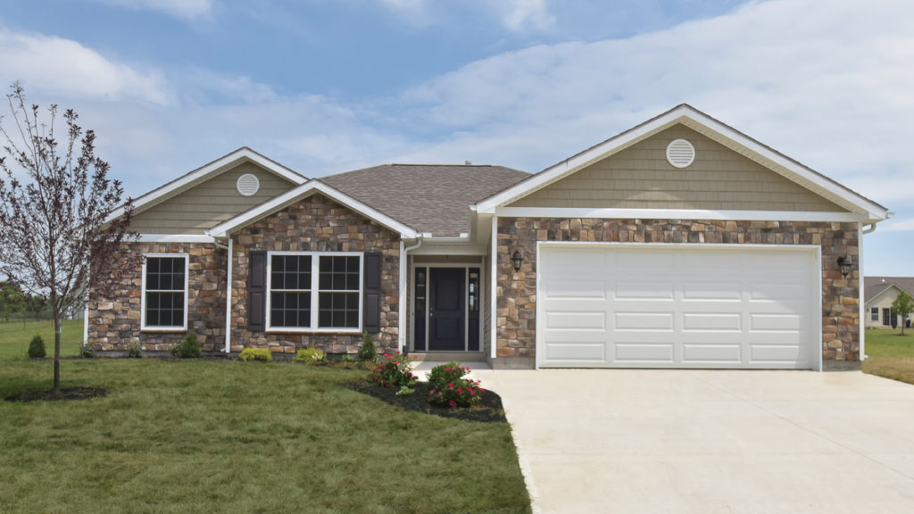 Bristol model with stone and shakes built in Hunter's Run (Brookville)