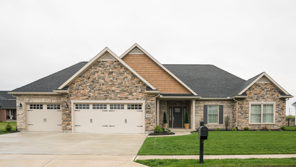 Custom ranch with stone and brick built in the Meadows of Stonebridge (Troy)