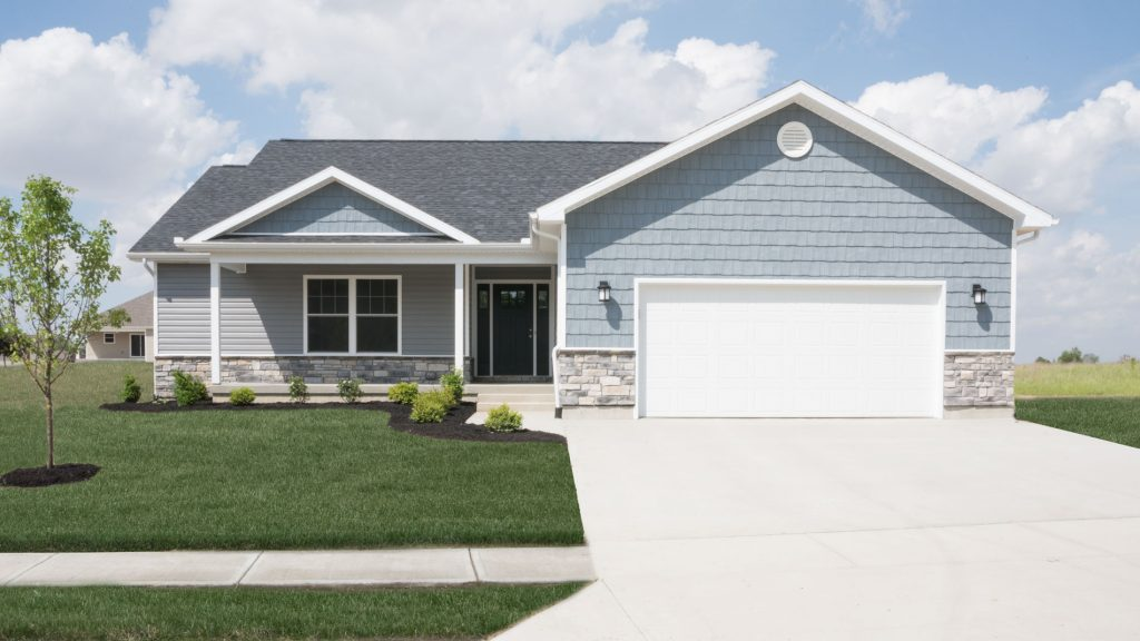 """Fenway model with Prestige Weather Ledge stone, 5"""" dutchlap pewter vinyl siding, and Wedgewood vinyl shakes built in Hunter's Run (Brookville)"""
