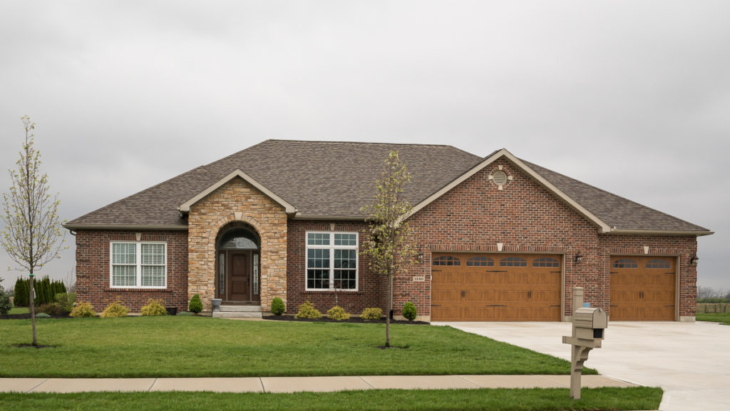 Modified Glendale model with brick and stone stoop built in Rosewood Creek (Troy)