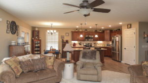 Open great room to kitchen in Saratoga model