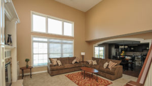 2 story great room of Arlington model with built ins