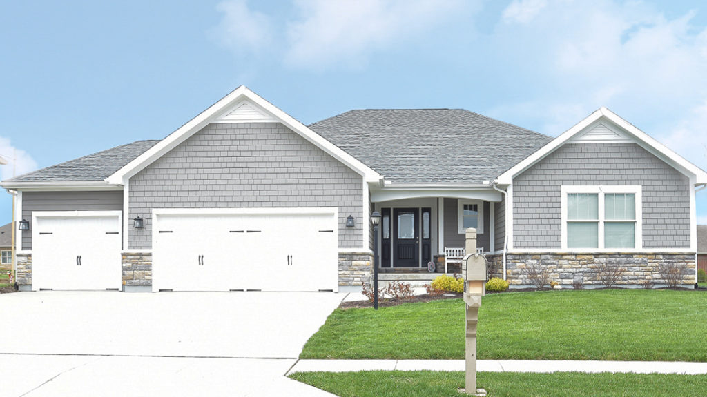 Talladega Model with shakes, stone and painted LP Smart siding built in Rosewood Creek