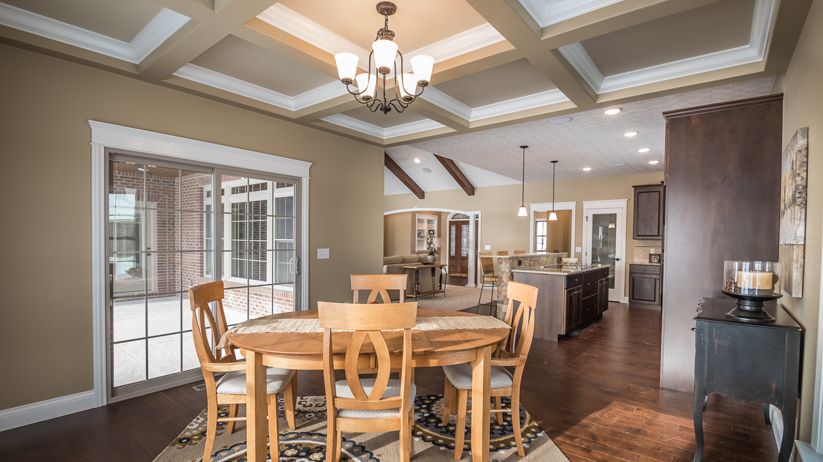 Dining / Breakfast nook of Excalibur model features coffered ceilings