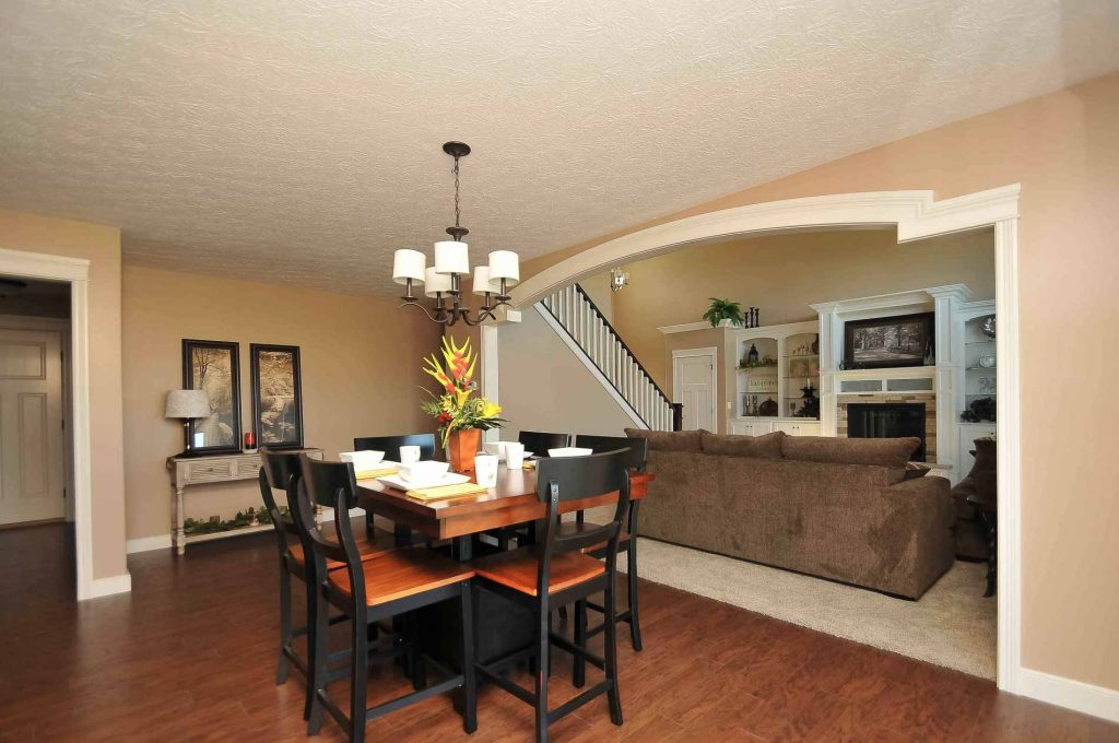 Dining room of Arlington model with Inspire light fixture