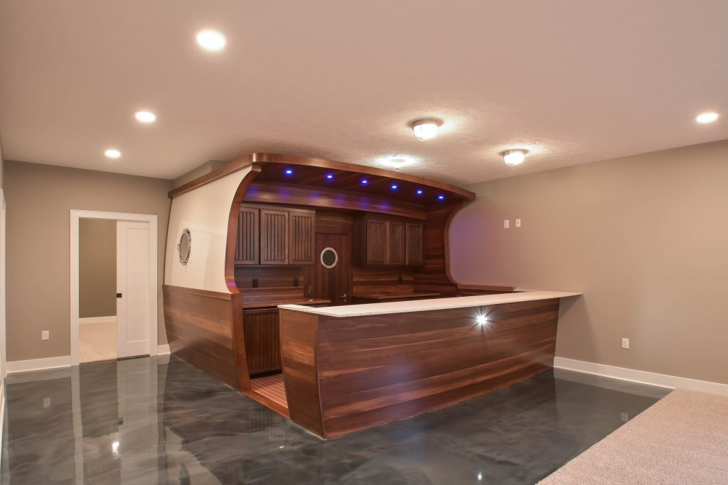 Custom built boat in the basement features wine cellar!
