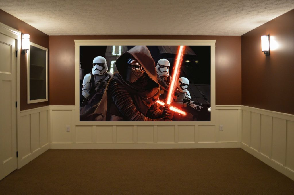 Theater room with wainscotting