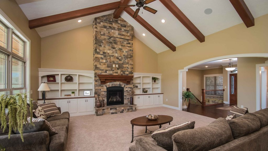 Gas fireplace with raised hearth, Sienna Dry Stack stone