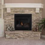 Natural gas fireplace SL-550, raised hearth, Golden Honey Quartzite stone