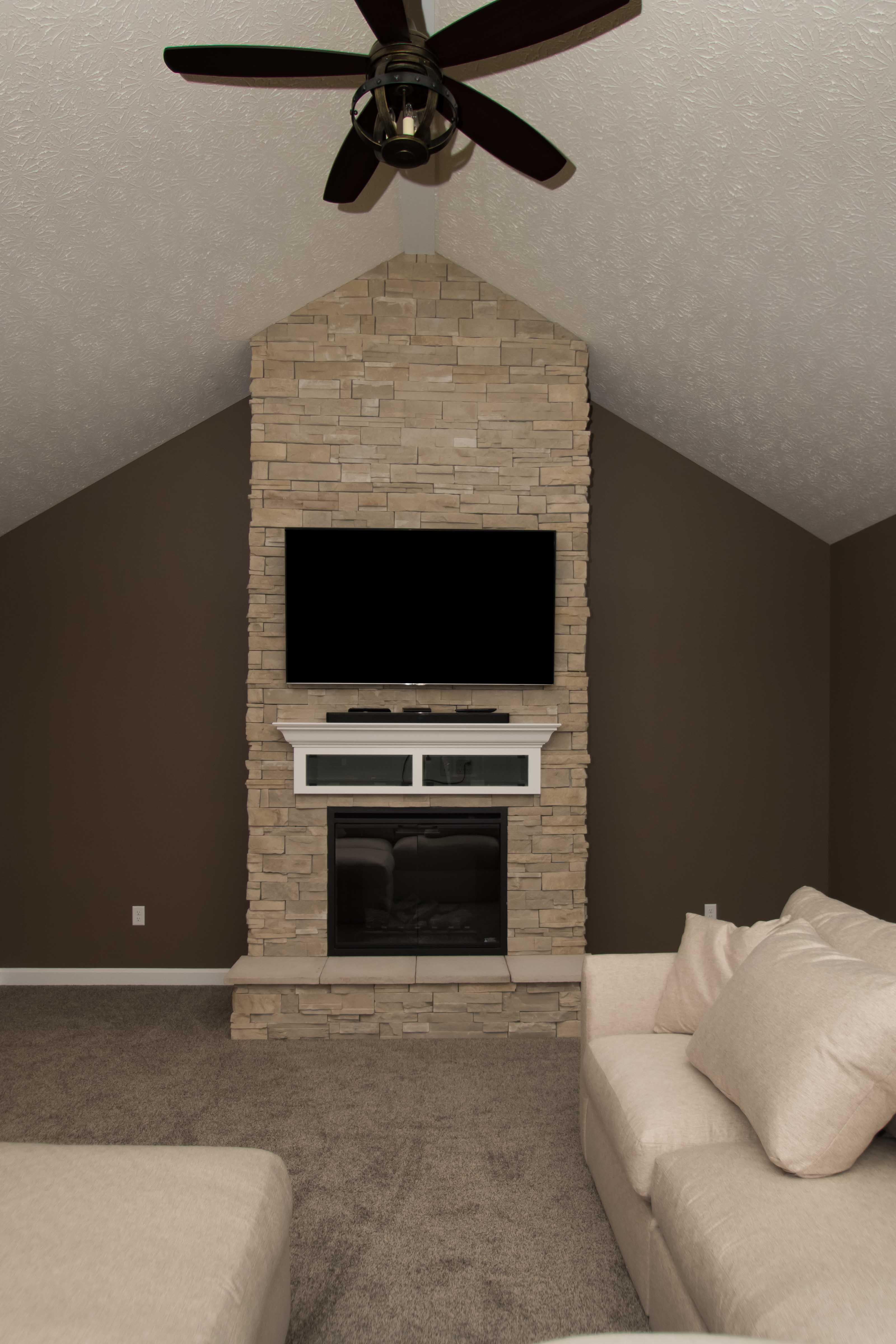 Electric fireplace, Raised hearth, Arizona Dry Stack stone