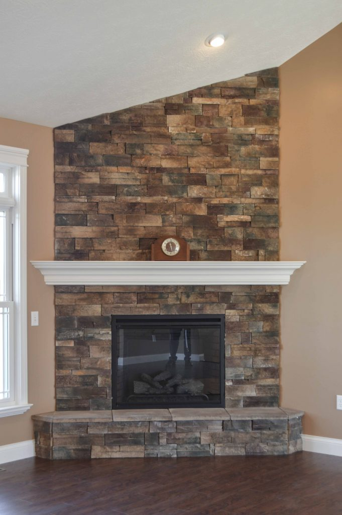 Corner fireplace with Cypress Dry Stack stone