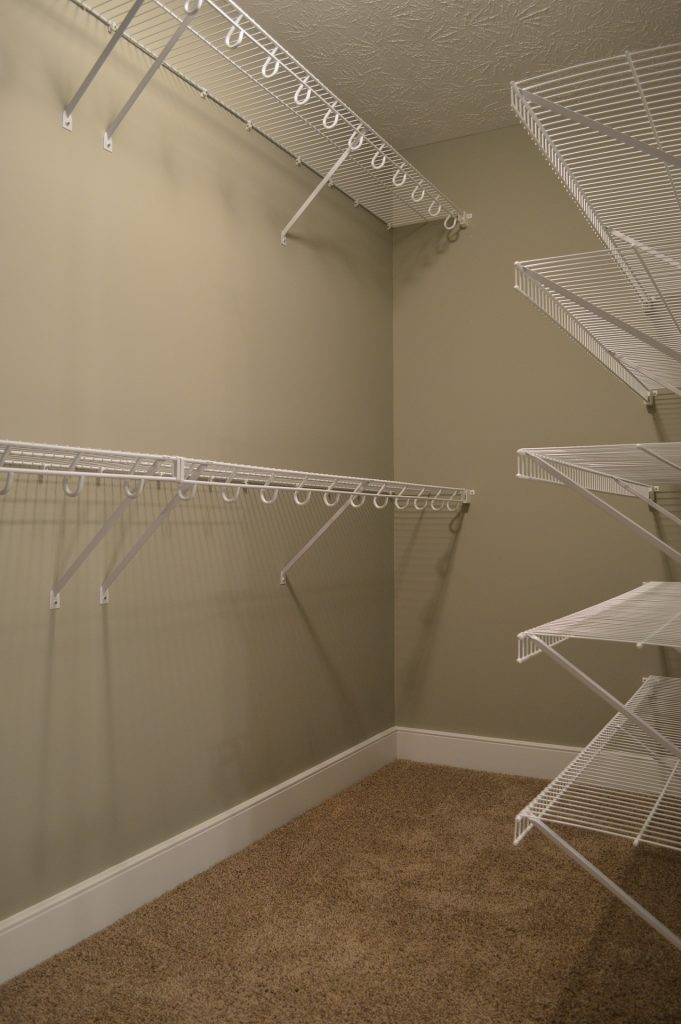 Wire shelving found in master closet