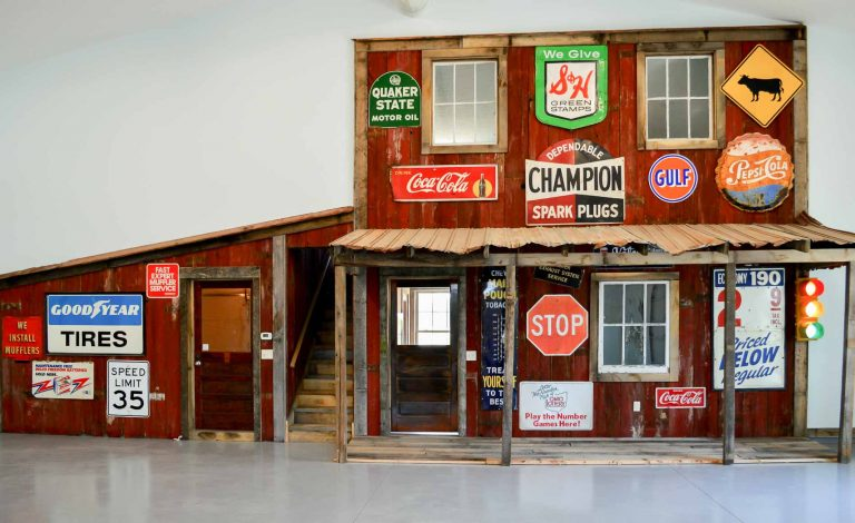 All the wood here was reclaimed from an area bridge/barn and used in the remake of this nostalgic faux store front in their garage