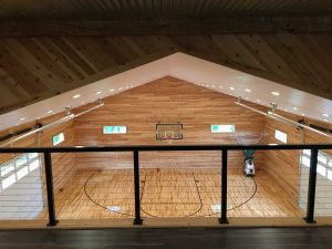 View from loft area of basketball court