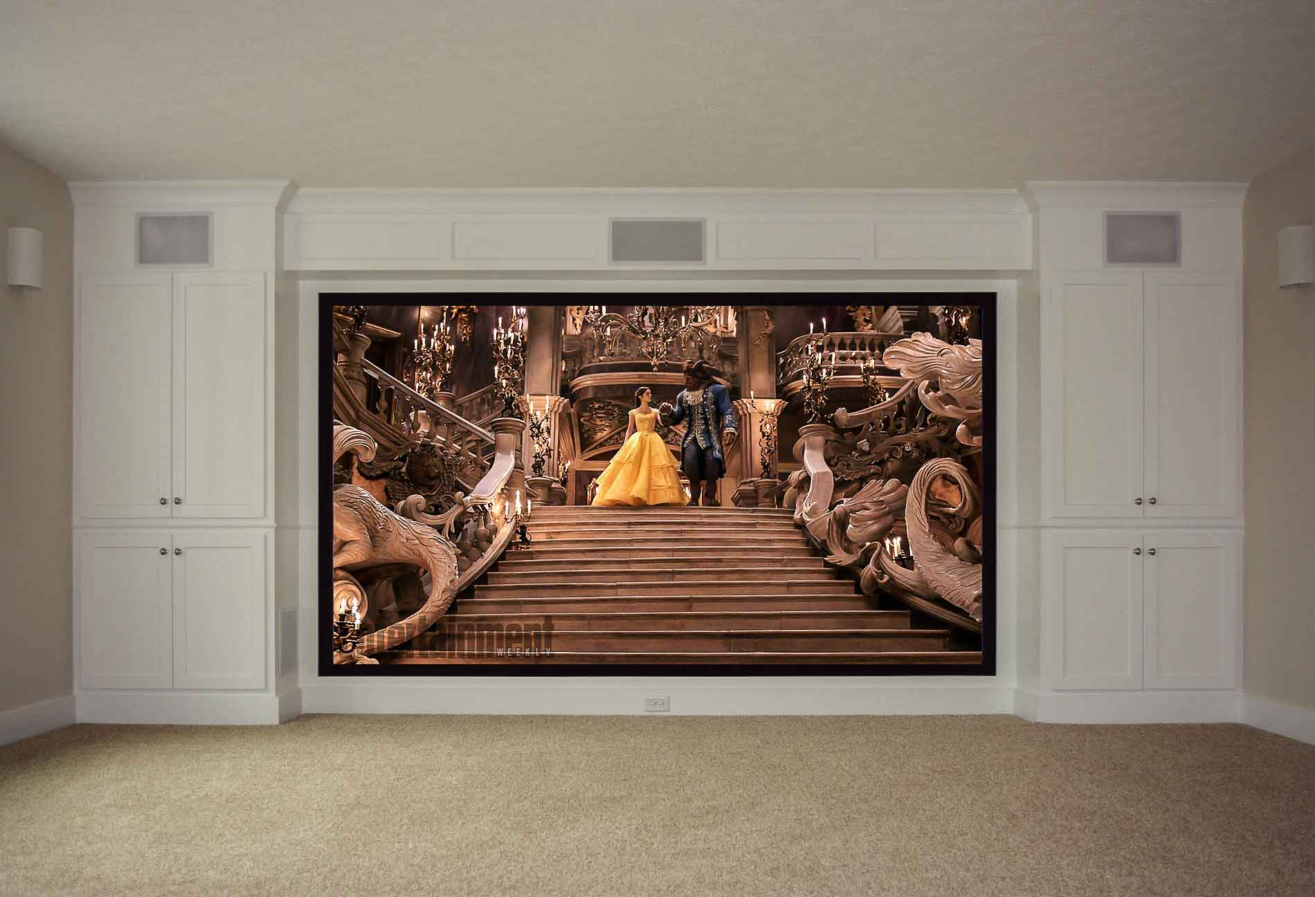 Large screen with flanking built-ins and in-wall speaker system